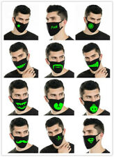 Fashion Cartoon Black Face Mask Funny Glow in the Dark Washable Reusable Unisex