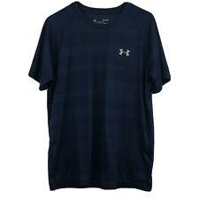 Under Armour HeatGear Dark Blue Stripe Print Loose Fit Short Sleeve Men's Shirt