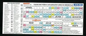 Vancouver Canadians--1993 Pocket Schedule--Angels Affiliate