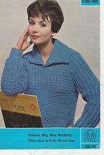 """Vintage retro Knitting Pattern P & B No  1202 LADIES JUMPER BIG BEN 34-38"""""""