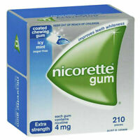 Nicorette Coated Chewing Gum 4mg - Sugar-free Icy Mint Extra Strength - 210 Pcs