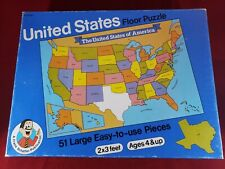 United Stated Floor Puzzle 2'x3' Ages 4 Up Frank Schaffer 51 Pieces Vintage Rare