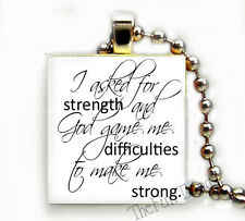 Strength from God Recycled Scrabble Tile Pendant Inspirational Jewelry Necklace