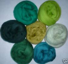 """1/2 oz each 7 colors of On the Green wool roving ~ 25"""" wet felt over soap spin"""