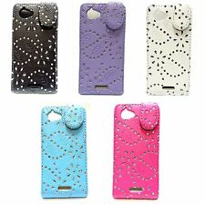 CASE FOR SONY XPERIA L GLITTER FLIP PU LEATHER IN VARIOUS COLOURS POUCH COVER