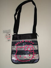 Hello Kitty Sequin Tote Bag Black and Silver Striped Sanrio Licensed BRAND NEW