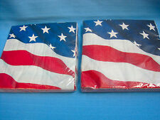American Flag Large Luncheon Napkins 20 Count 2PLY Lot of 3 Red White Blue