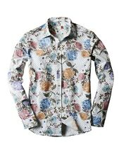 Mens Long Sleeve Casual Dress Shirts Floral Rose Print Button Down Slim Fit