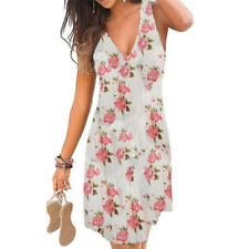 Women Floral V Neck Midi Dress Sleeveless Casual Summer Tank Sundress Plus Size