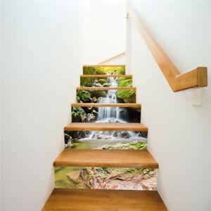 6pcs/set Waterfall Mountain Stair Riser Sticker Mural Vinyl Wallpaper Decal DIY