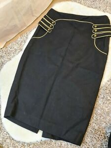 H&M Black Wool Blend Pencil Lined Military Style Midi Skirt Size 36 /10 UK