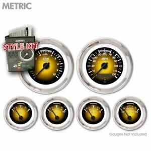 Gauge Face Set Classic Retro Metric Pulsar Amber, Black Needles, Chrome Trim RT