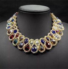Moda Colgante Cadena Gruesa con cristal Gargantilla Pechera Distintivo Collar Joyería
