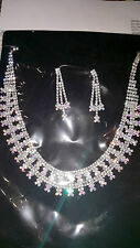 Silver AB Diamante crystal Necklace & earrings set wedding prom new set