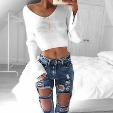 Womens V Neck Tops Crop Long Sleeve Slim Fit Ladies Stretch Sweatershirt UK XL White