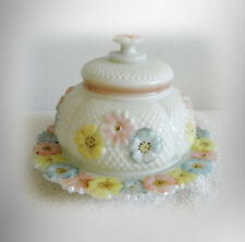 Cosmos butterdish - pastel flowers on white glass - ca 1900 FREE SHIPPING
