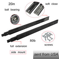 "Black Drawer Slides 20"" Soft Close Full Extension Ball Bearing Side Mount 100LB"