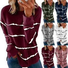 Women Long Sleeve Crew Neck T Shirt Casual Stripe Print Blouse Loose Tunic Tops