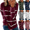 Women Long Sleeve Crew Neck T Shirt Casual Stripe Print Blouse Loose Tunic Tops