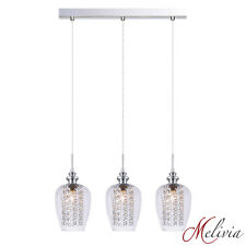 Hängelampe Pendelleuchte 3x40W 58cm Glas Klar Deckenlampe Kristall Leuchte Lampe