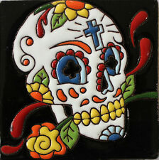 """One MEXICAN Hi Relief 4"""" Day of the Dead Skull With Cross Talavera Tile DDT-19"""