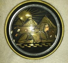 Antique Vtg Egypt Egyptian Brass Wall Plate Dish Handmade Sphinx  Pyramids Art