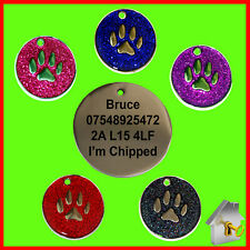 Personalised Engraved Dog Tag Glitter Paw Print Round Pet Cat ID Tag 32mm Tags