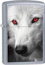 Zippo 2015 Catalog White Wolf With Red Eyes Street Chrome Finish Lighter 28877