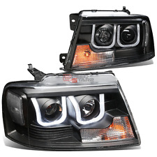 BLACK 3D U-HALO PROJECTOR HEADLIGHT+LED+CLEAR SIGNAL FOR 04-08 F150/MARK LT