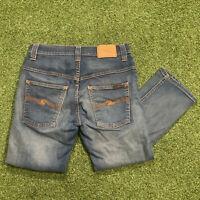 "Nudie Jeans Co Blue Denim Straight Leg Faded Jeans Size W31 L34 31"" Long Leg"
