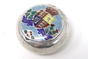 A Rare Antique Edwardian Solid Silver 925 C1902 Coronation Enamelled Pill Box AF