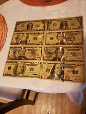 US Dollar Bills Lot of (8) Gold & Green Color Money 1,2,5,10,20,50,100,+ new 100