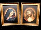 Catholic Antique Holy Icon Oil Paintings of Our Lady of Sorrows & Passion Christ
