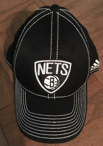 BROOKLYN NETS ADIDAS HAT FITTED SIZE S/M CAP NBA BASKETBALL BLACK