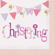 16 x Napkins Pink Bunting Christening 33cm 2ply Girls Party Tableware Supplies