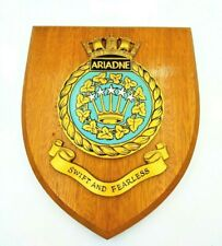 HMS ARIADNE SHIPS ROYAL NAVY MILITARY WOODEN CREST PLAQUE