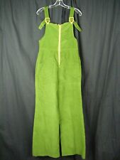 Vtg 60-70s Green Corduroy Wide Leg Jumpsuit w/Orange Buckles-Bust 33/Xs