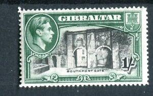 Gibraltar KGVI 1938-51 1s black & green p14 SG127 MH