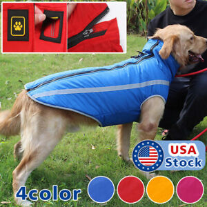 Waterproof Warm Winter Dog Coat Clothes Dog Padded Fleece Pet Vest Jacket Large