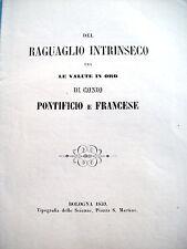 1859 RAGGUAGLIO MONETE PONTIFICIE D'ORO CON QUELLE FRANCESI. RARO OPUSCOLO