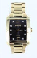 Pre-Owned Seiko Men's Diamond Dial Solar Stainless Steel Watch SNE462