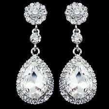Pair Wedding Bridal Silver Rhinestone Crystal Teardrop Dangle Drop Earrings CHIC