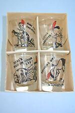 Vintage Set of 4 Novelty Cartoon Little Indian Boy ~ Whiskey Shot Glasses ~ NOS