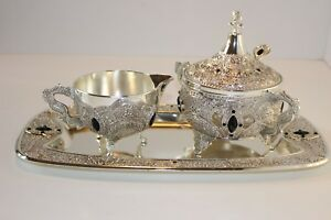 Silver Plated Milk And Sugar Set With Tray Silverware Home Tea Set