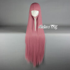Lolita Dark Pink Long 100CM Straight Fashion Cosplay Wig with Bangs + Wig Cap