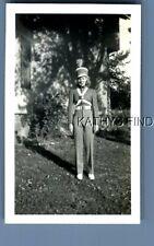 Black & White Photo U_2387 Pretty Teen Girl Posed In Band Uniform In Yard