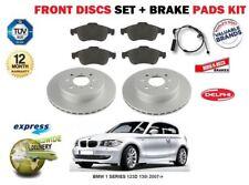 FOR BMW 1 SERIES 123D 130i 2007-> FRONT BRAKE DISCS & PADS SET + PADS SENSOR KIT