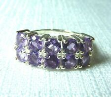 2.20 ct  Natural Amethyst Solid 925 Sterling Silver Cluster Ring