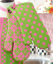 Mackenzie-Childs Set Of 2 Pink & Green Dot/Argyle Oven Mitts-Handmade In India