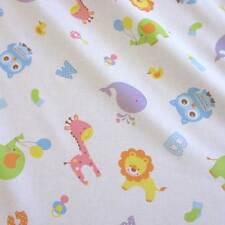 Stoff Meterware Baumwolle weiß Baby Tiere Kleiderstoff Löwe Giraffe Eule